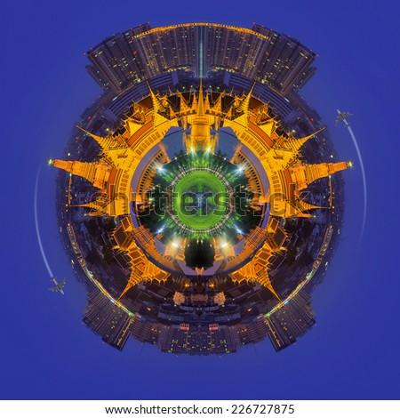 Travel concept, Palace of Thailand at twilight in Bangkok Thailand. - stock photo