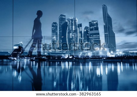 travel concept, people in the airport, double exposure blue background with modern skyline - stock photo