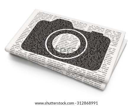 Travel concept: Pixelated  Photo Camera icon on Newspaper background