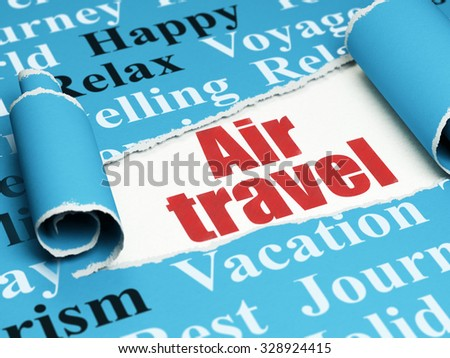 Travel concept: red text Air Travel under the curled piece of Blue torn paper with  Tag Cloud