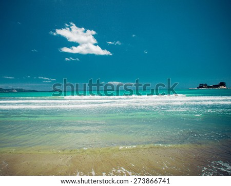 travel concept - sandy beach at summer sunny day - stock photo