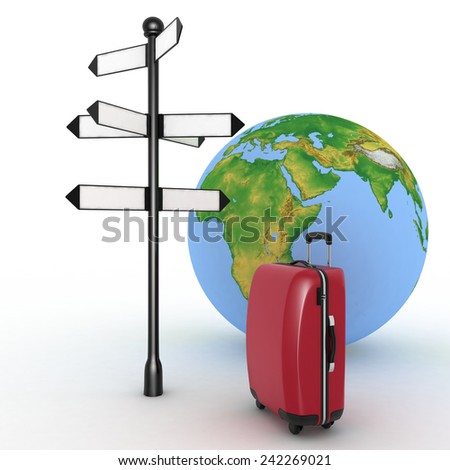 Travel concept. Signpost and suitcase on a globe background. 3d render illustration - stock photo