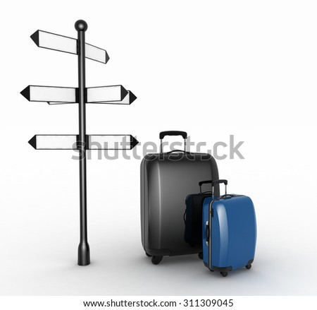 Travel concept. Signpost and suitcase on a white background. 3d render illustration - stock photo