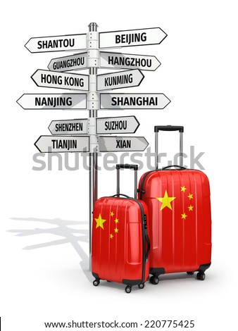 Travel concept. Suitcases and signpost what to visit in China. 3d - stock photo