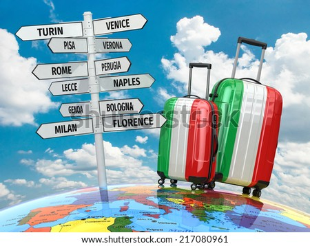 Travel concept. Suitcases and signpost what to visit in Italy. 3d - stock photo
