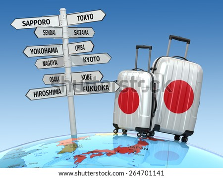 Travel concept. Suitcases and signpost what to visit in Japan. 3d - stock photo