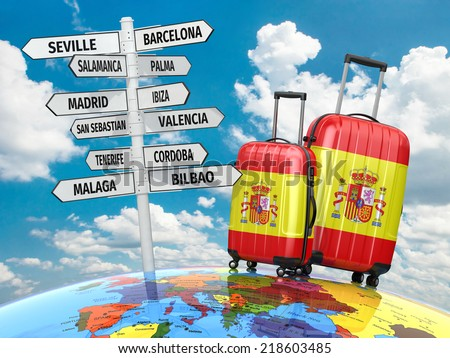 Travel concept. Suitcases and signpost what to visit in Spain. 3d - stock photo