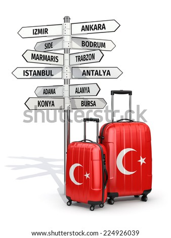 Travel concept. Suitcases and signpost what to visit in Turkey. 3d - stock photo