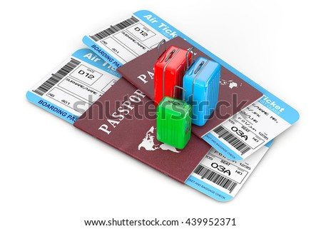 Travel Concept. Suitcases over Passports with Tickets on a white background. 3d Rendering - stock photo