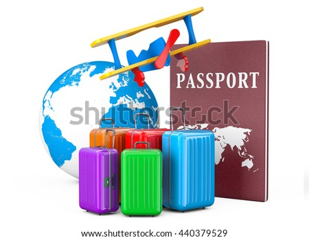 Travel Concept. Suitcases with Passport and Earth Globe on a white background. 3d Rendering - stock photo