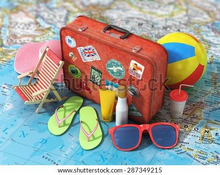 Travel concept. Summer hat, shoes, ball, sun cream, sunglass and vintage suitcase on the blurred world map. Weekend and holidays. - stock photo
