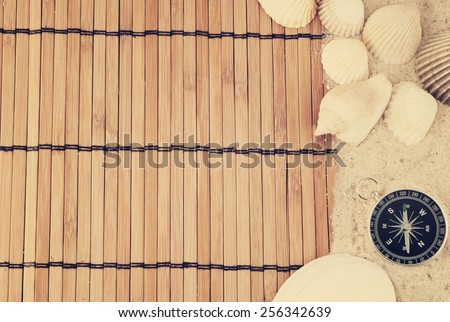 Travel concept, travel items on bamboo background