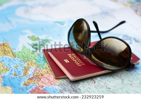 travel concept, two passports on the map of Europe - stock photo