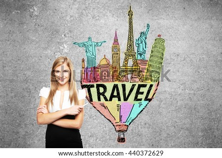 Travel concept with confident businesswoman standing against concrete wall with colorful sketch - stock photo