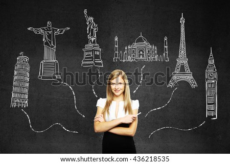 Travel concept with confident businesswoman standing against dark concrete wall with sights sketches - stock photo