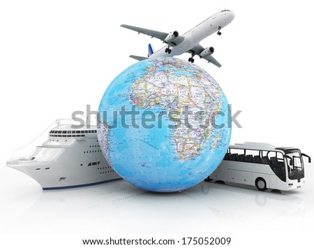 travel concept with plane, ship and bus around global - stock photo
