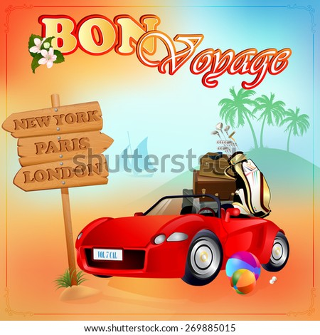 Travel design template;Car loaded with luggage, stopped in front of next destinations wood sign; Exotic summer`s evening  environment on backdrop; Car and baggage ready for holidays;  - stock photo