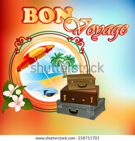 Travel design template; Exotic landscape in medallion; In season scene framed by artistic, ornamental border and bouquet of flowers;Suitcase ready to go; Seasoned coloring on backdrop.  - stock photo