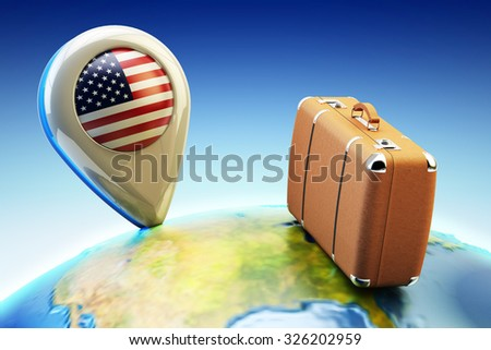 Travel destination and global tourism concept, pin pointer marker with USA national flag and brown leather suitcase on Earth globe (Elements of this image furnished by NASA) - stock photo