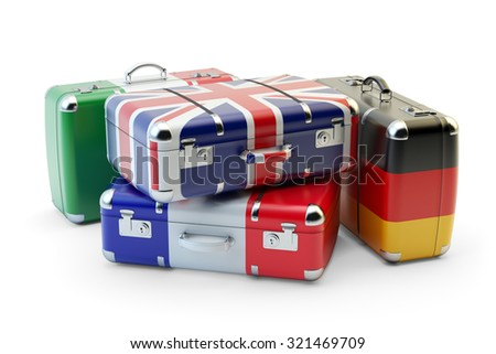 Travel destination and journey luggage concept, stack of suitcases in colors of national flags of european countries isolated on white background - stock photo