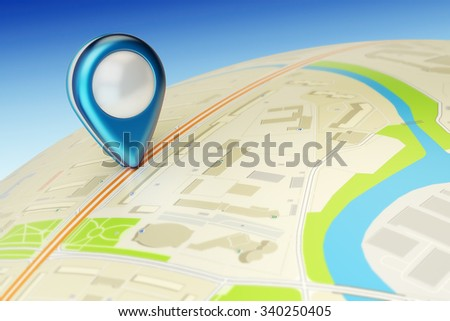 Travel destination, gps location and positioning concept, globe with city map and navigation pin pointer close-up view