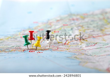 travel destination points on a map - stock photo