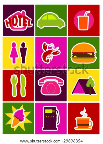travel directory icons - stock photo