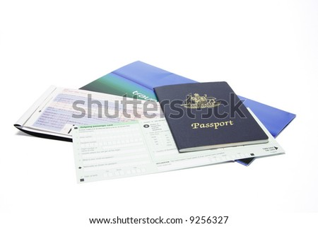 Travel Documents on White Background