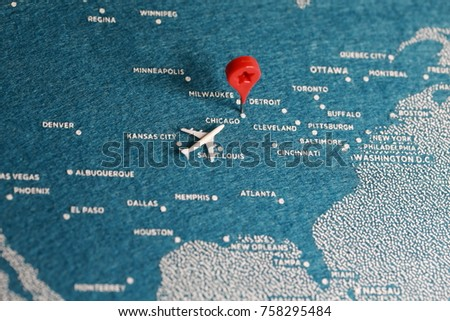 Travel Felt Painted Blue Map Pin Stock Photo (Royalty Free ...
