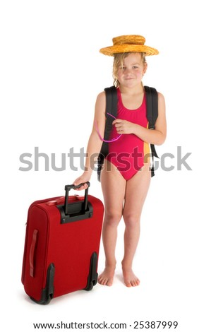 travel for holidays by a child - stock photo