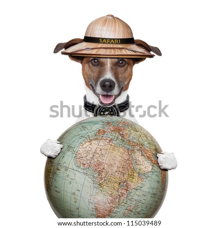 travel globe compass dog safari explorer expedition - stock photo