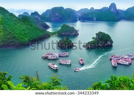 Travel Halong Bay, Vietnam - stock photo