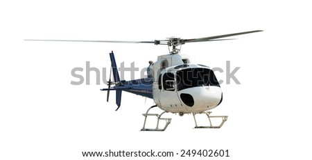 Travel helicopter, isolated on white - stock photo