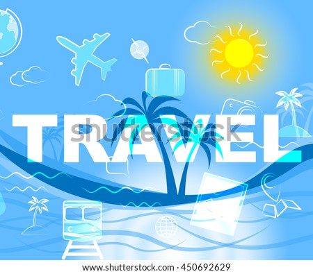 Travel Icons Showing Travels Expedition And Sign - stock photo
