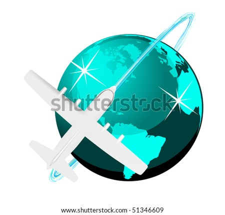 Travel illustration plane on map - stock photo