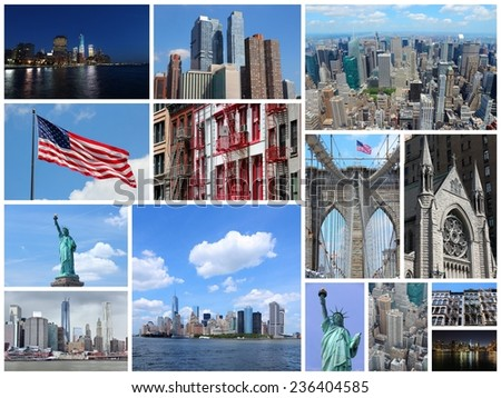 Travel image collage from New York City, United States. Collage includes major landmarks like Statue of Liberty, Manhattan skyline and Brooklyn Bridge. - stock photo