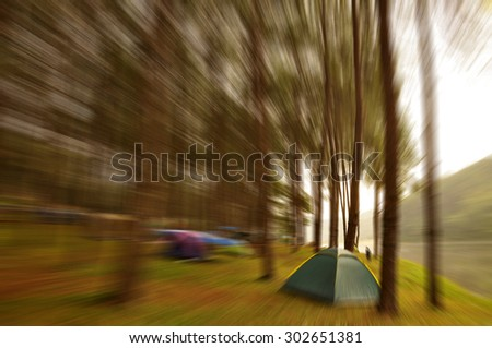 Travel in Mae Hong Son of Thailand , Camping outdoors ,Festive background with defocused lights, Bokeh , Lighten, Line of light , speed movement - stock photo
