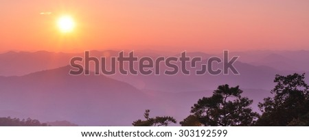Travel in Mae Hong Son of Thailand, Camping outdoors, Sunset  - stock photo