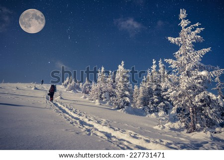 Travel in winter mountains at night with stars and a full moon - stock photo