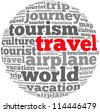 Travel info-text graphics and arrangement concept on white background (word cloud) - stock vector