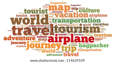 Travel info-text graphics and arrangement concept on white background (word cloud) - stock photo