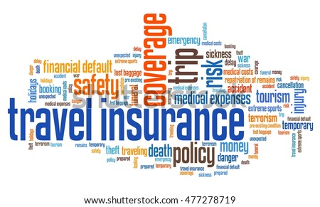 Travel insurance issues and concepts word cloud illustration. Word collage concept.