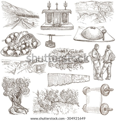 Travel, ISRAEL - Collection of an hand drawn illustrations. Description: Full sized hand drawn illustrations (freehand sketches). Drawing on white background. - stock photo