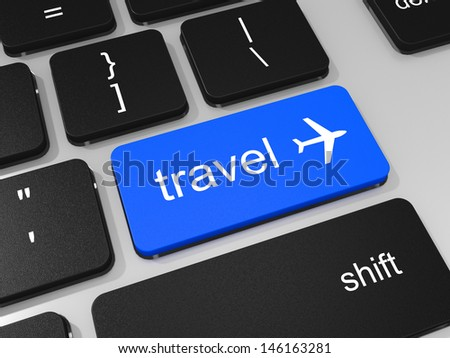 Travel key and airplane symbol on keyboard of laptop computer. 3D illustration. - stock photo