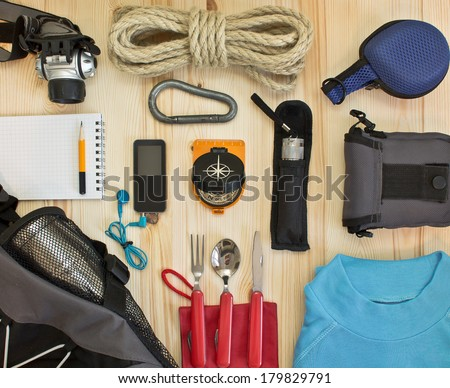 Travel kit modern traveler scout - stock photo