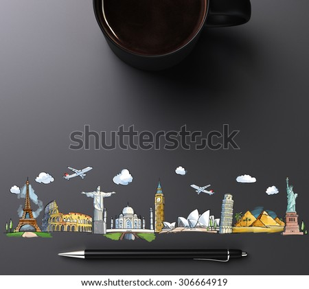 travel landmarks with cup of coffee and pen - stock photo