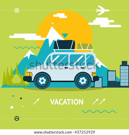 Travel Lifestyle Concept Tourism and Journey Symbol Car Forest Illustration