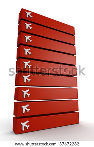 Travel location signboard with airplane icon you can include the country name in the empty space 3d illustration - stock photo