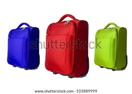 travel luggage isolated on white - stock photo