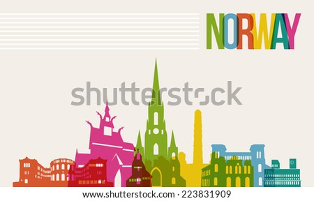Travel Norway famous landmarks skyline multicolored design background. - stock photo